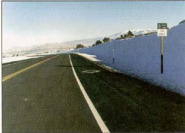 Photo of State Route 313 in Moab, Utah, showing the right shoulder marked as a bike lane