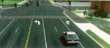 computer generated example of left and right turn lanes