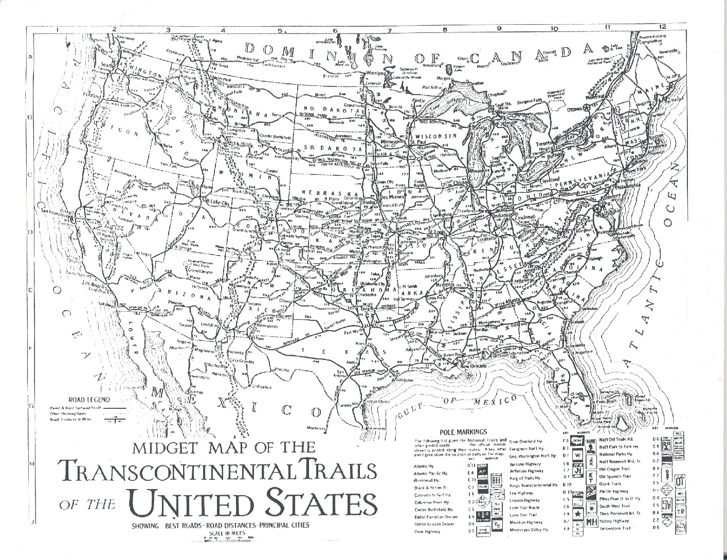 Map Of The Transcontinental Trails Of The Usa