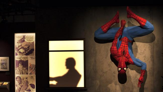 Life-size sculptures of Marvel's beloved characters, including Spider-Man and The Thing.