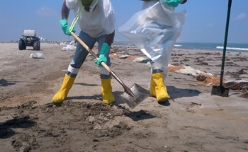 Clean up workers in the Gulf of Mexico find oil in the sand - Photo: Annie Correal