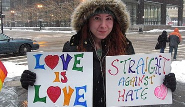 A protest against the Defense of Marriage Act in Chicago