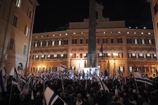 Italienska parlamentariker från nästan hela det politiska spektrat visar sitt stöd för Israel, 14 januari.