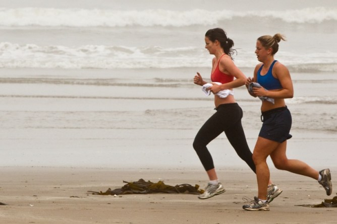jogging near the beach