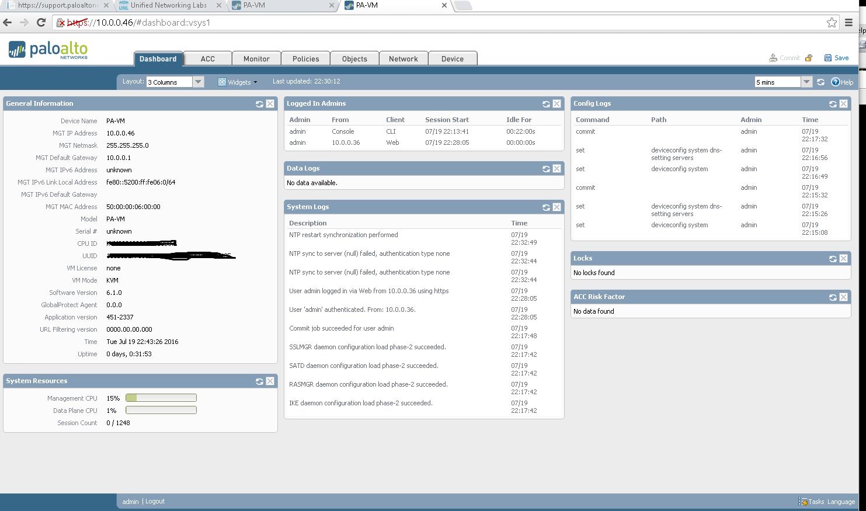 Palo Alto Initial setup - Fibe-Networking