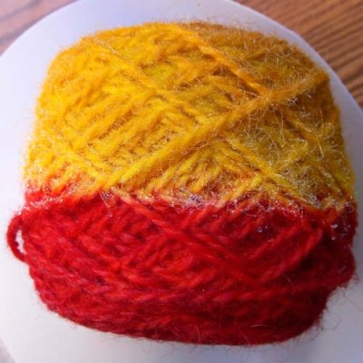 Yarn dyed with yellow and red