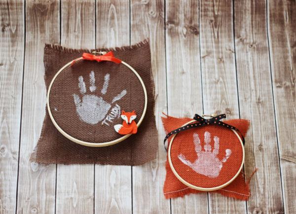 Kids Craft Handprint on Burlap Fabric