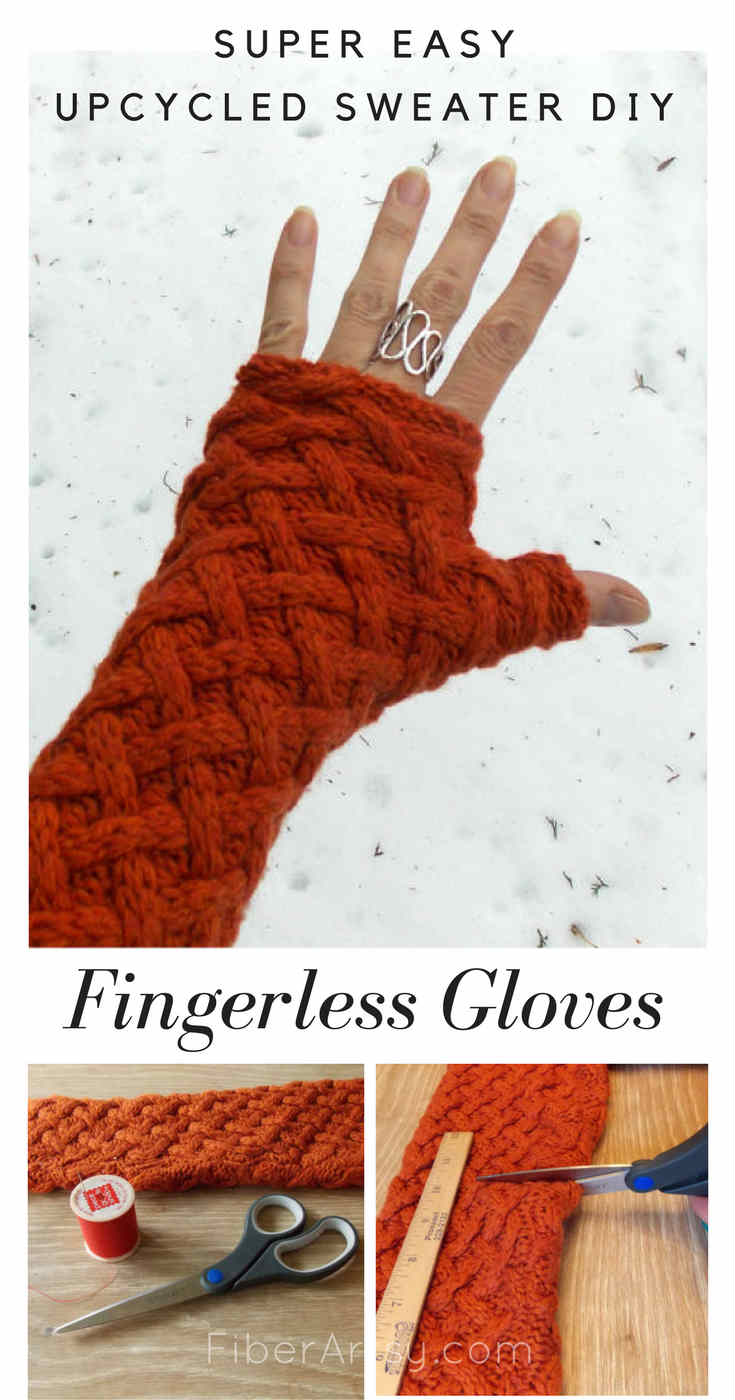 DIY Fingerless Gloves Upcycled Sweater tutorial from FiberArtsy.com