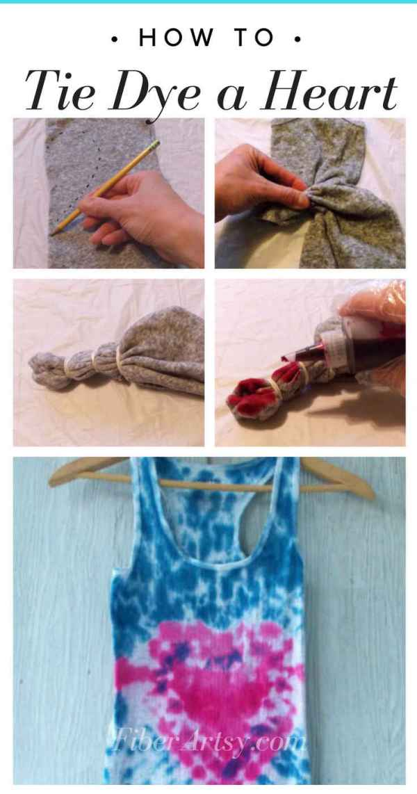 Learn how to Tie Dye a Heart. Fun and easy tie dyeing technique. Makes a great Valentine's gift! A FiberArtsy.com craft tutorial