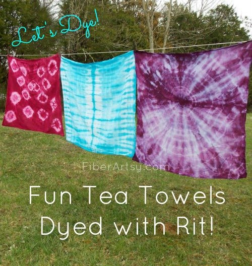 Rit Dyed Tea Towels, FiberArtsy.com
