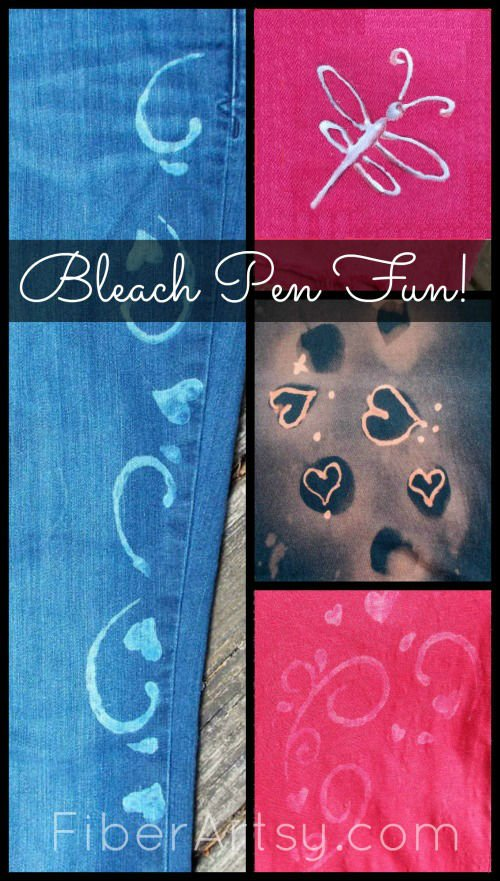 Bleach Pen Fun! Learn how to dress up and decorate Fabric and Jeans with Bleach and Bleach Pens - A Fiberartsy.com craft diy Tutorial