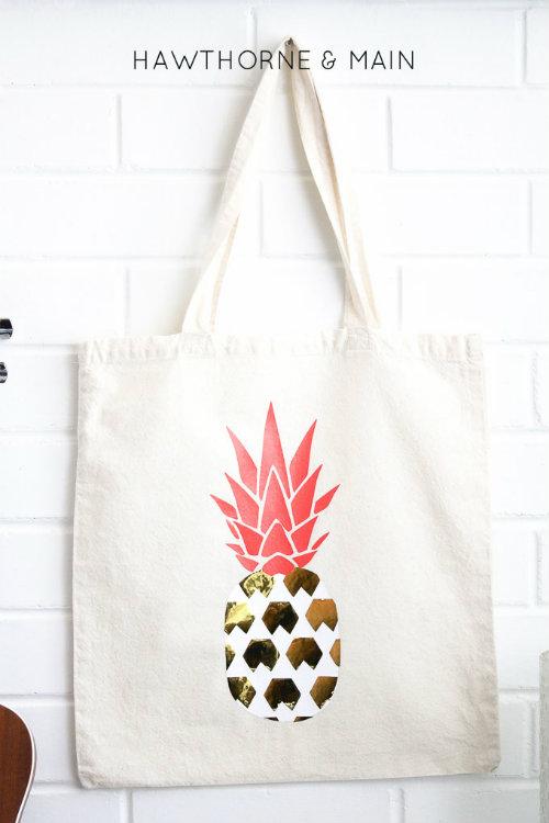Pineapple Vinyl Transfer Printed Tote Bag
