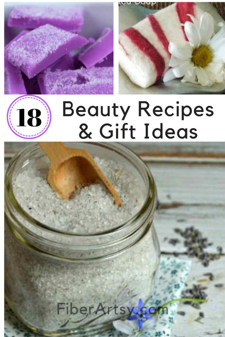 18 DIY Beauty Recipes and Gift Ideas. Give the Gift of Beauty with the homemade beauty recipes such as Hand Scrubs, Body Salts and Lotion Bars