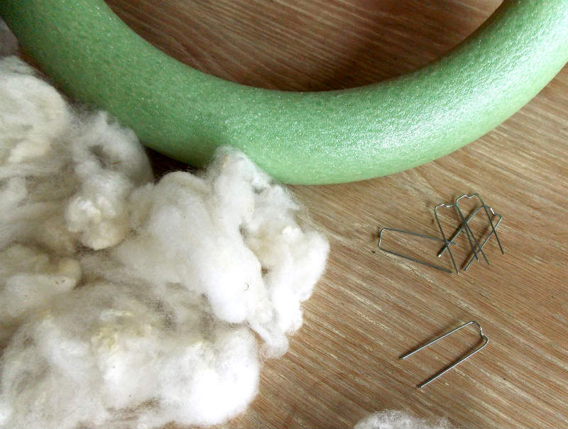 Supplies for making a Christmas Wreath with sheep wool
