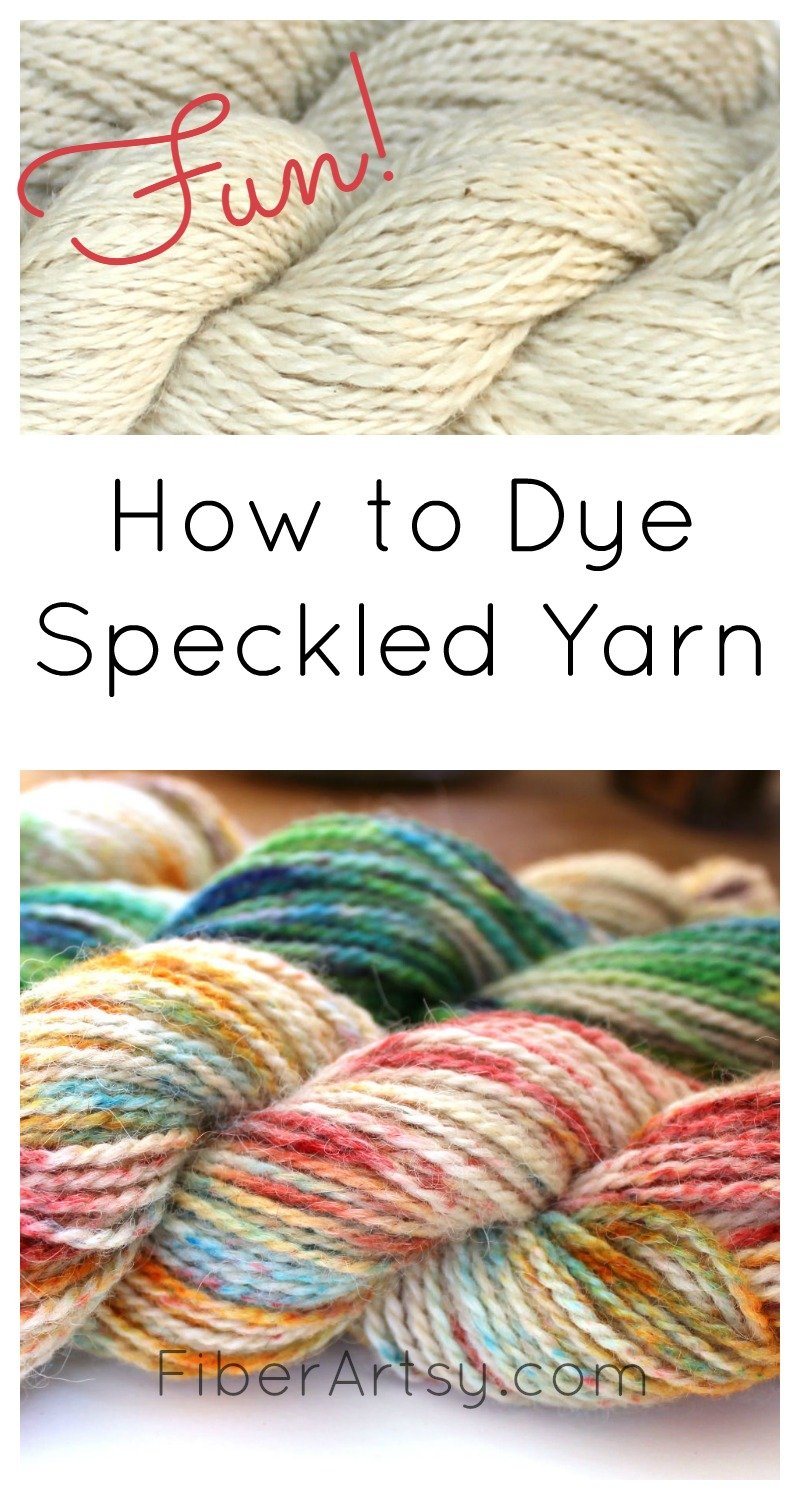 Speckled Yarn Dyeing. Learn how to Dye Sprinkled or Speckled yarn. You can even dye it with Kool Aid! FiberArtsy.com tutorial