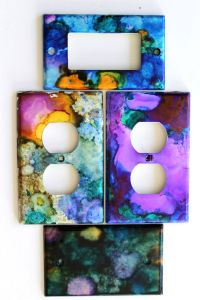 DIY Alcohol Ink Art Switch Plates