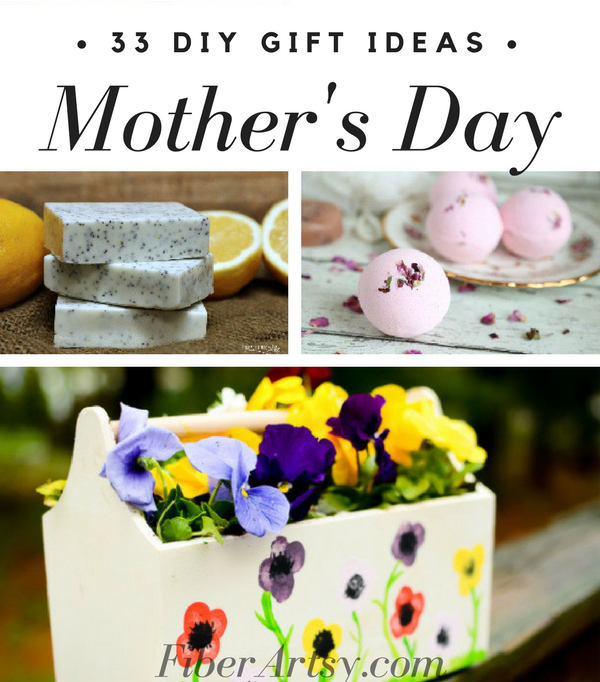 33 DIY Gift Ideas for Mother's Day your Mom is sure to love. We'll show you how to craft beautiful jewelry, bath scrubs and journal covers. by FiberArtsy.com