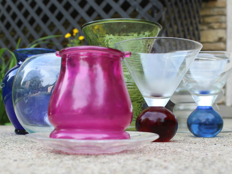 Blue vase and Pink wine glasses for glass art totem