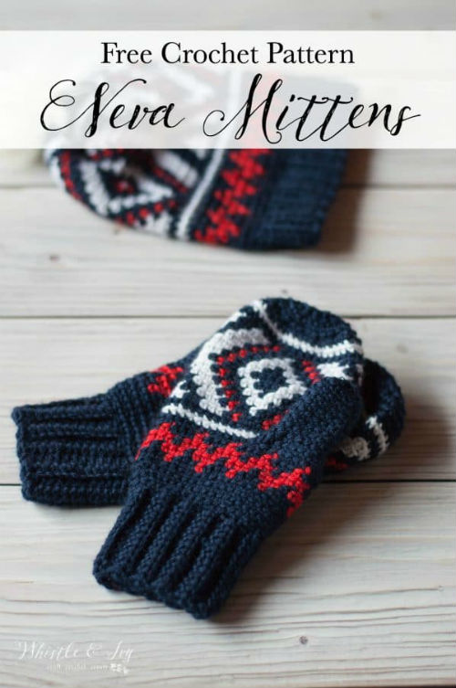 Fair Isle Crochet Mittens by Whistle and Ivy