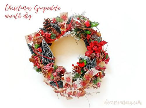 Burlap Ribbon Christmas Wreath