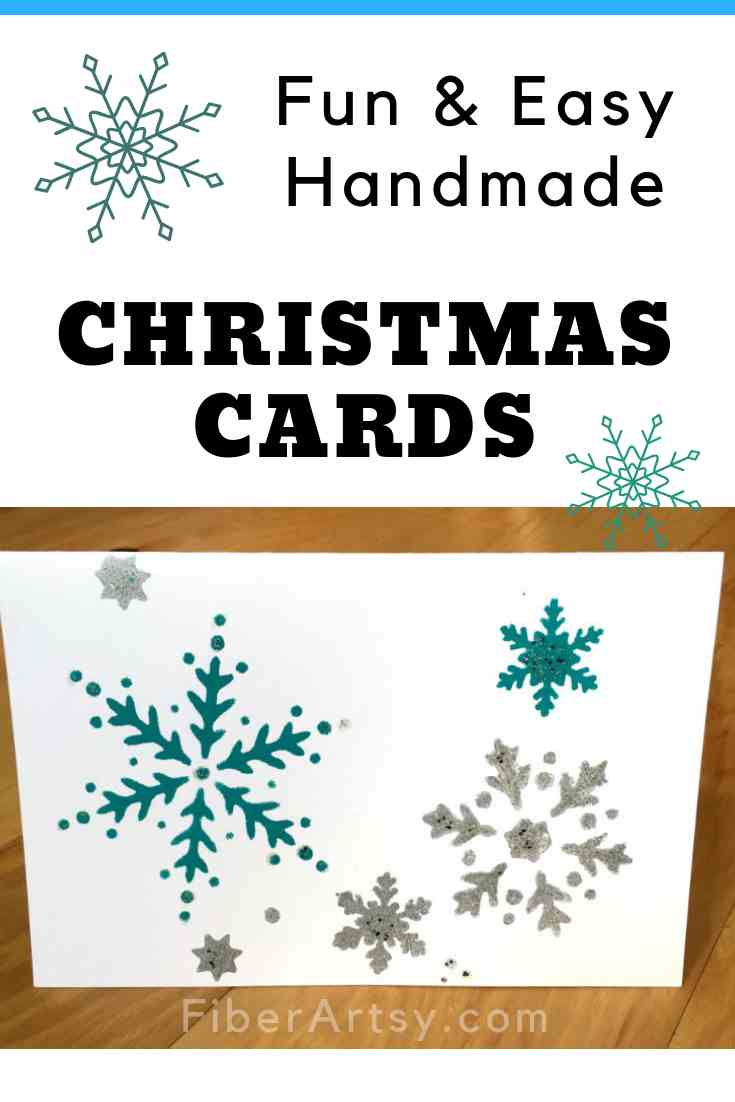 Christmas Card Hand Stenciled with Snowflakes