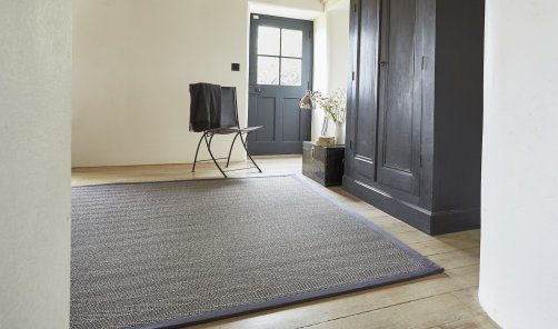 Sisal Havana Titanium rug with Charcoal Cotton Border