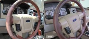 Leather steering wheel restoration
