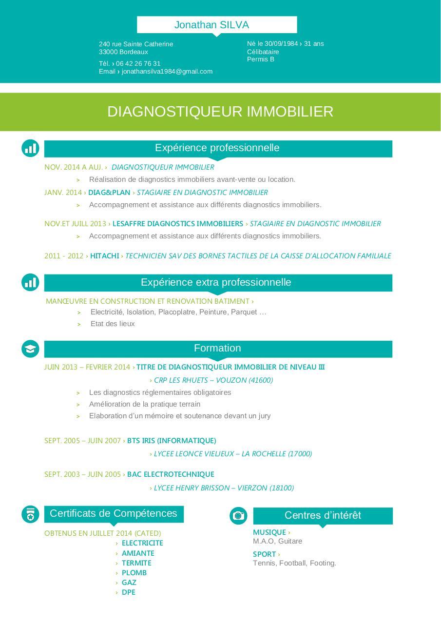 Cv Diagnostic Immo Silva 2016 Fichier Pdf