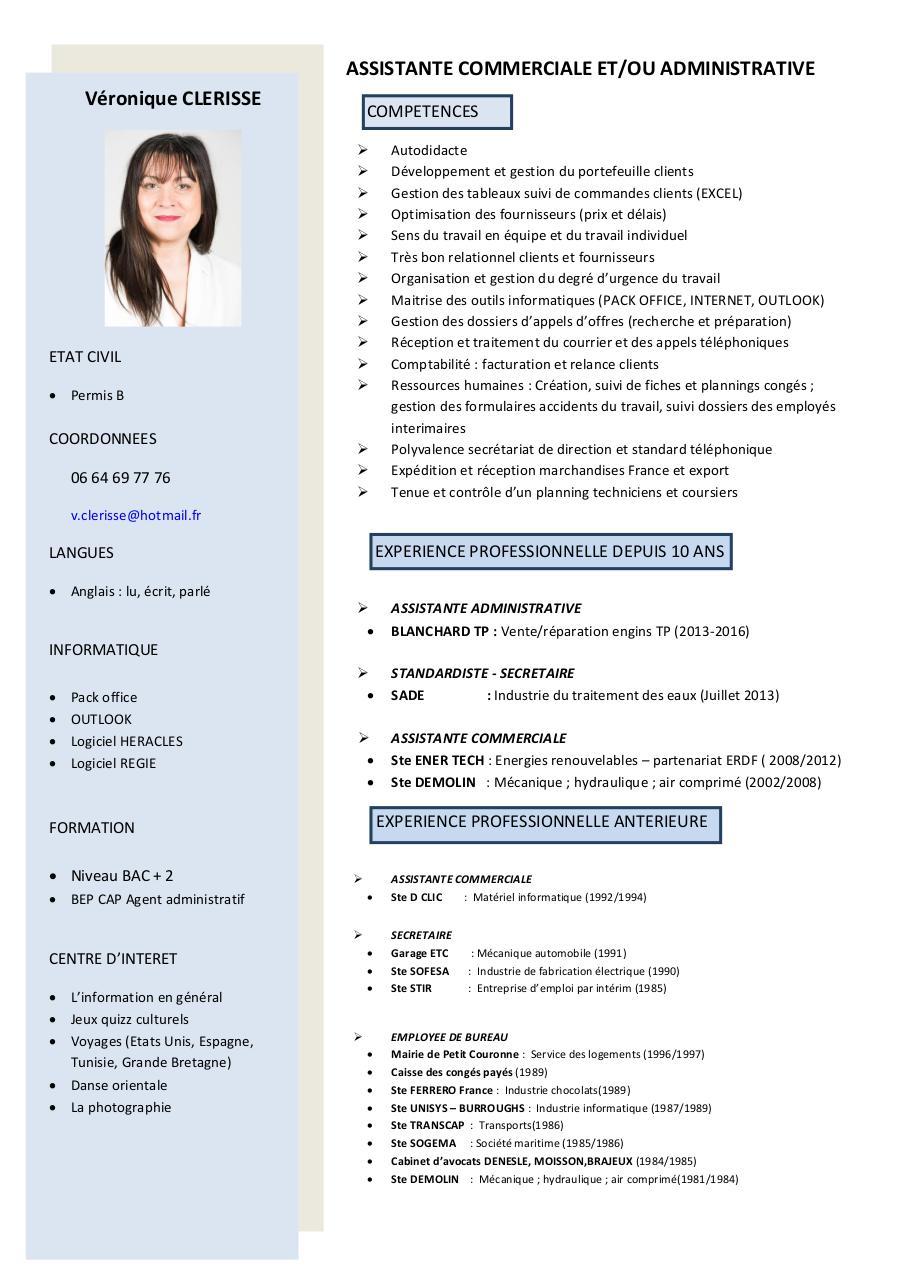 CV Assistante Commerciale 2 Fichier PDF