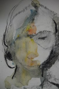 Charcoal and water color gauche