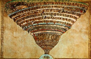 Dante's Inferno, as depicted by famed Renaissance artist, Sandro Botticelli. Seriously... zoom in & just LOOK at all those brutal details!