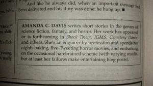 The author blurb on Amanda C. Davis provided by Cemetery Dance.