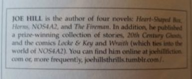 Author Blurb on Joe Hill provided by Cemetery Dance