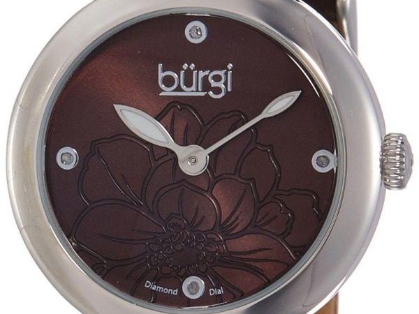 Burgi Women's BUR128BR Round Brown Sunburst Effect Dial with Embossed Flower Qua