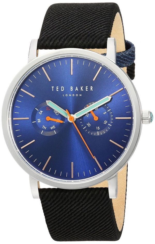 Ted Baker Men's 'BRIT' Stainless Steel and Canvas Dress Watch 10031496