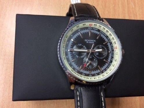 Sekonda Men's Black Leather Strap Watch 1503