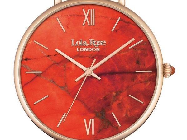 Lola Rose Women's Quartz Watch with Orange Dial Display and Brown Leather