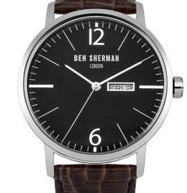 Ben Sherman Men's Quartz Watch with Black Dial Analogue Display & Brown Leather