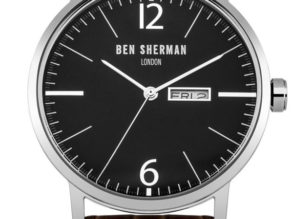 Ben Sherman Men's Quartz Watch with Black Dial Analogue Display & Brown Leather