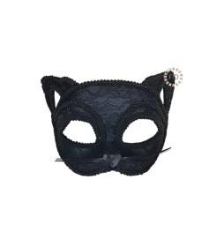 Antifaz Felino de Tela Negro