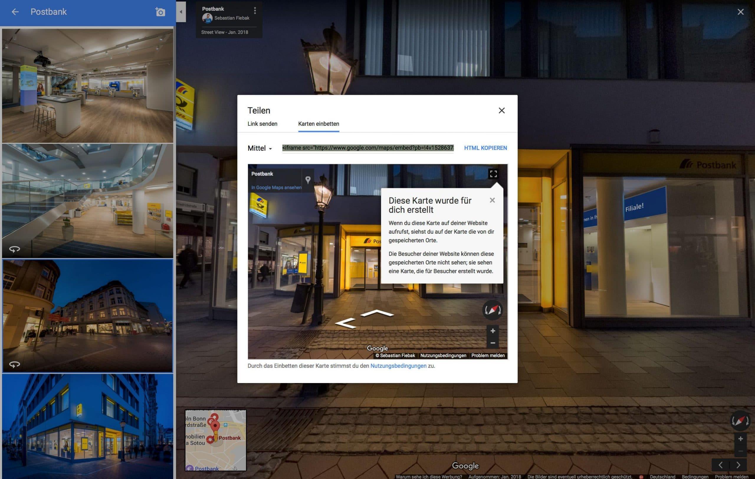 Google Street View Touren auf Website einbetten