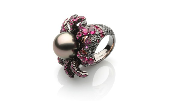 Autore-Fire-Ice-Cooling-Volcano-ring-in-white-gold-with-black-rhodium-and-rose-gold-Tahitian-South-Sea-pearls-rubies-orange-sapphires-and-black-diamonds
