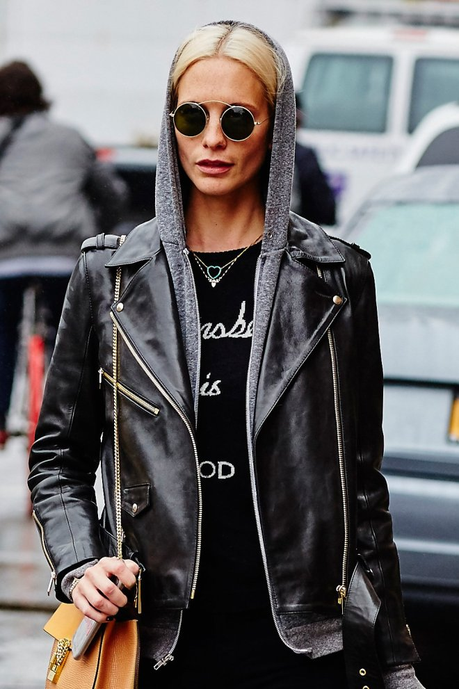 Poppy Delevigne with leather jacket