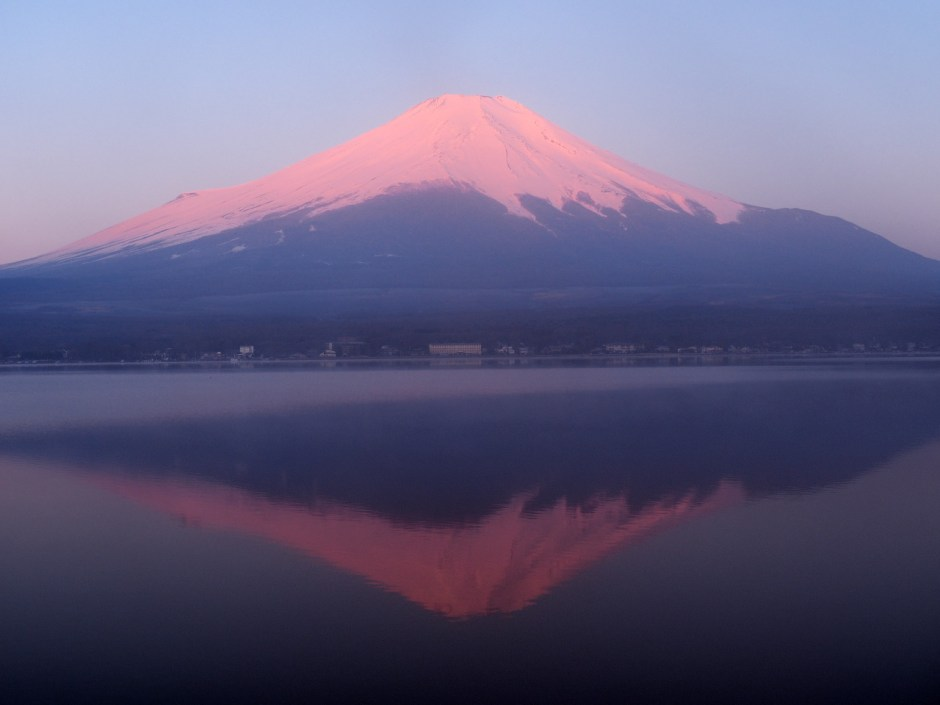 "『逆さ富士』河口湖/""Upside Down Fuji"" At Karaguchi Lake"