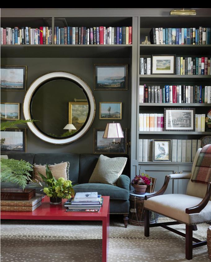 A Favorite Library Dark Bookshelves Painted Bookshelves