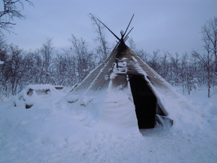 Sami tent covered with snow