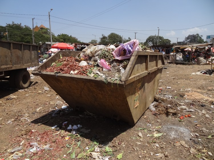 Container at Kisumu county's waste collection site at Kibuye market
