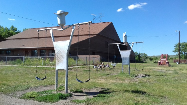 Old playground by the school in Little Eagle at Standing Rock Indian Reservation