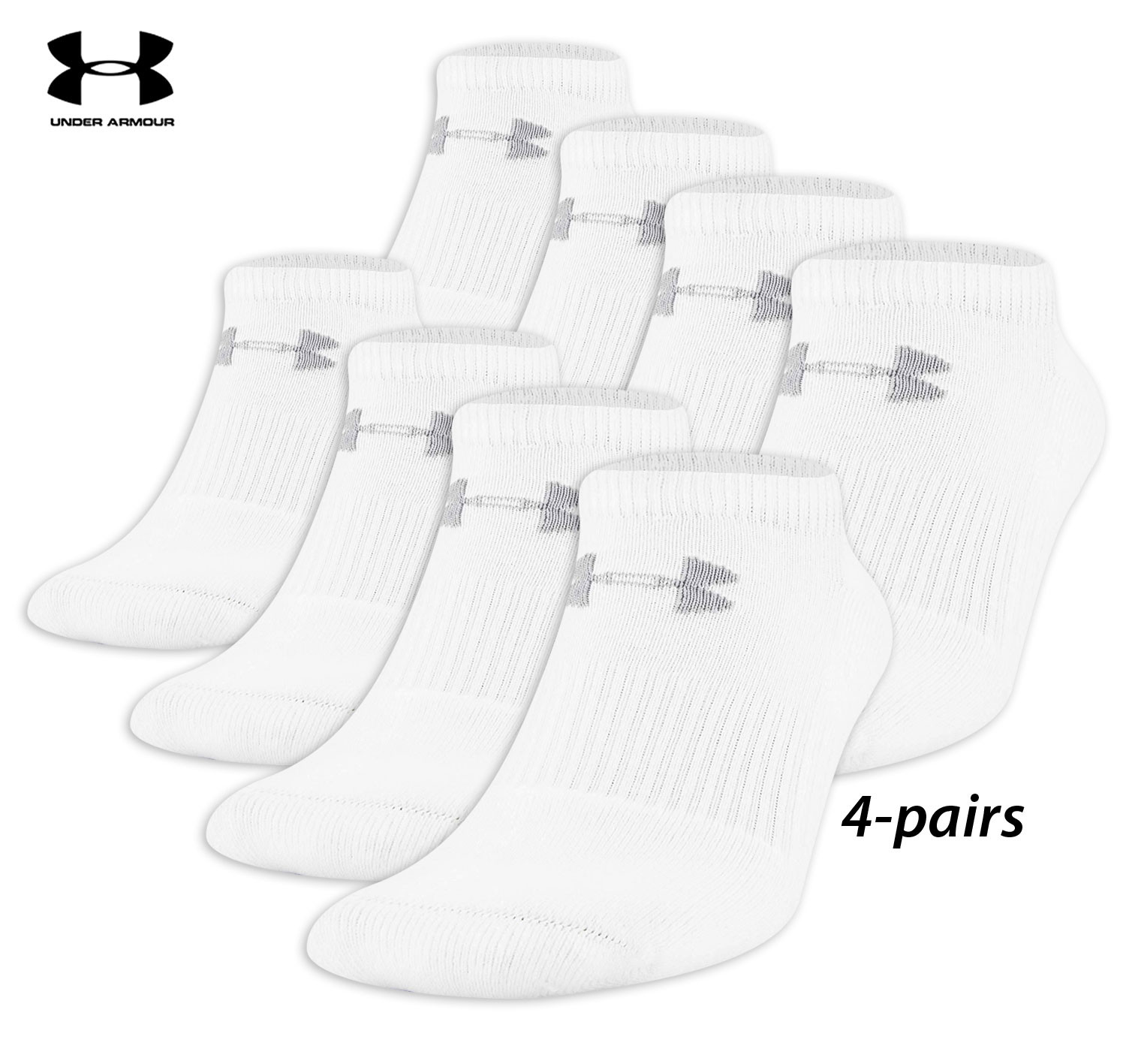 4 Pairs Under Armour All Season Performance No Show Socks