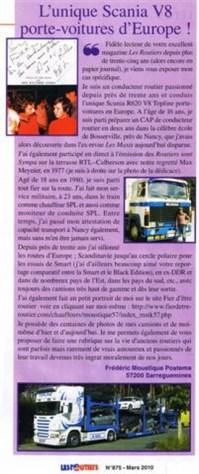 Petit article dans '' LES ROUTIERS '' mars 2010